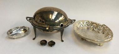 A small quantity of plated items to include chafing dish, swing handled pierced sweetmeat basket,