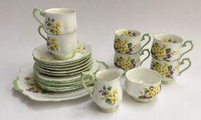 Royal Albert 'Primulette' part tea set, comprising cups (6), saucers (6), side plates (6), cake
