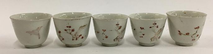 A lot of five Japanese sake cups, white with cherryblossom design, each approx. 4.5cmH