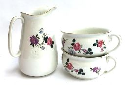 An Empire Works wash jug together with two matching chamber pots