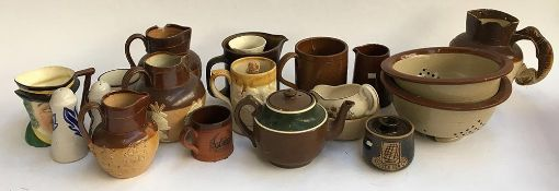 A mixed lot of various studio pottery and stoneware items, to include Denby, Royal Doulton