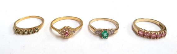 Four 9ct gold dress rings with coloured stones, gross weight 7.8g