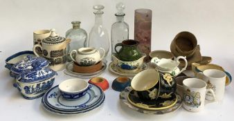 A mixed lot of glass to include several decanters, studio glass, Portmeirion Williams-Ellis jug,