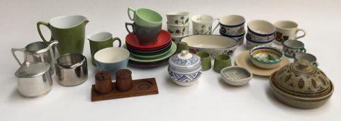 A mixed lot of ceramics and other items including a Melamex malamine part tea set; piquot sugar bowl