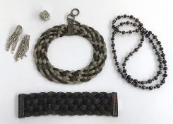 A Kenneth Jay Lane Choker Necklace and Bracelet in a woven mesh effect together with 3 other costume