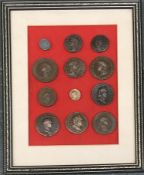 12 Roman coins, framed