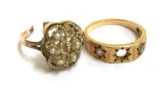A 18ct gold ring set originally with 3 diamonds but middle diamond missing, gross weight 4.7g,