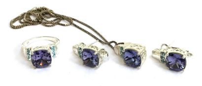 A small selection of jewellery, including faux tanzanite with blue topaz stones pendant, together