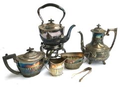 A Walker & Hall three piece plated tea set, silver sugar tongs, a plated coffee pot, and plated