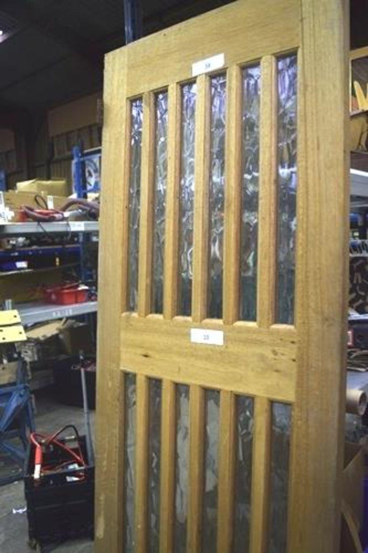 Lot 38 - Solid oak framed 12 panel door, 76cm(W) x 198cm(H) x 4cm(D) - Second-hand (GS18)