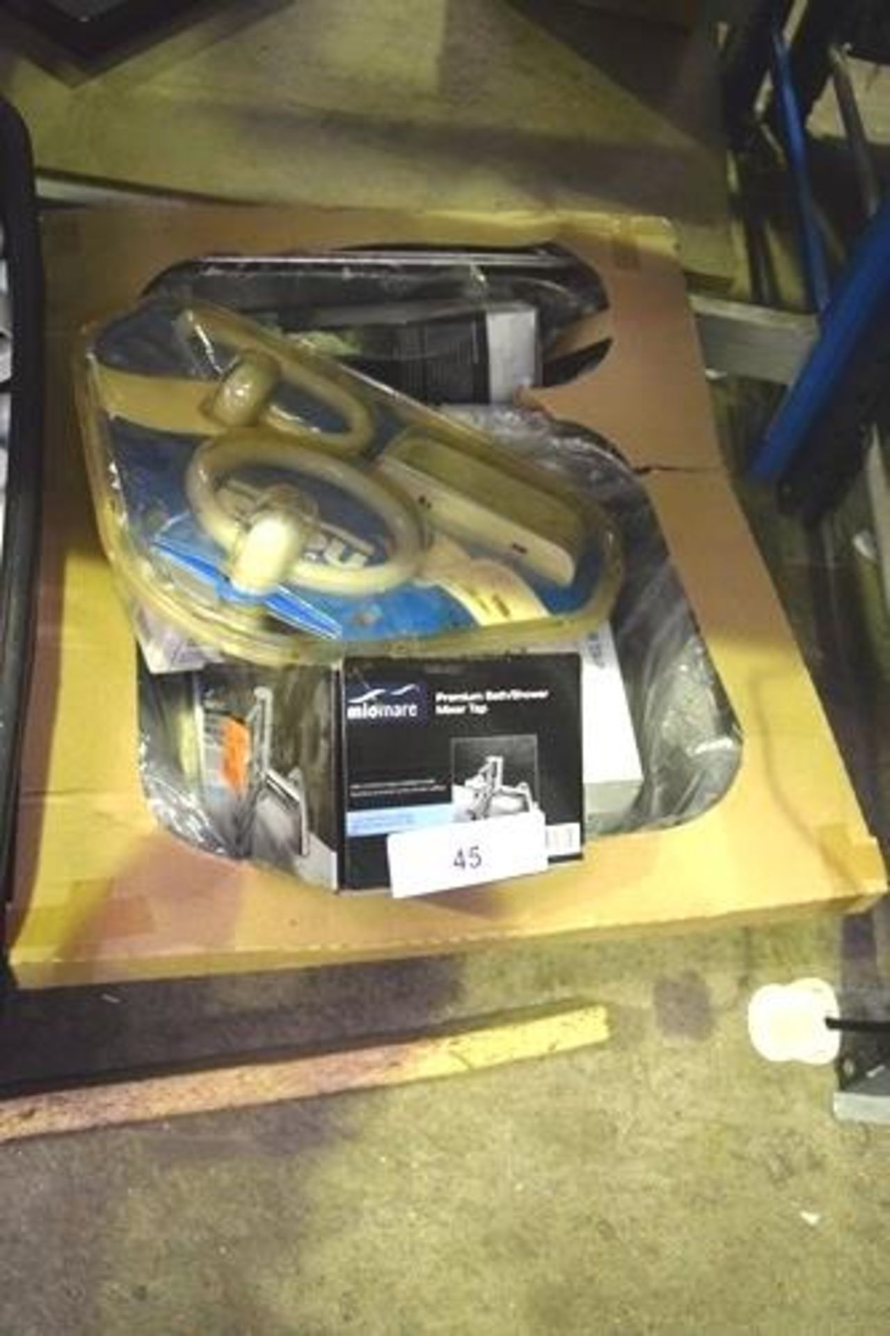 Lot 45 - 2 x boxes of assorted plumbing parts including taps, stainless steel single bowl sink - Second-