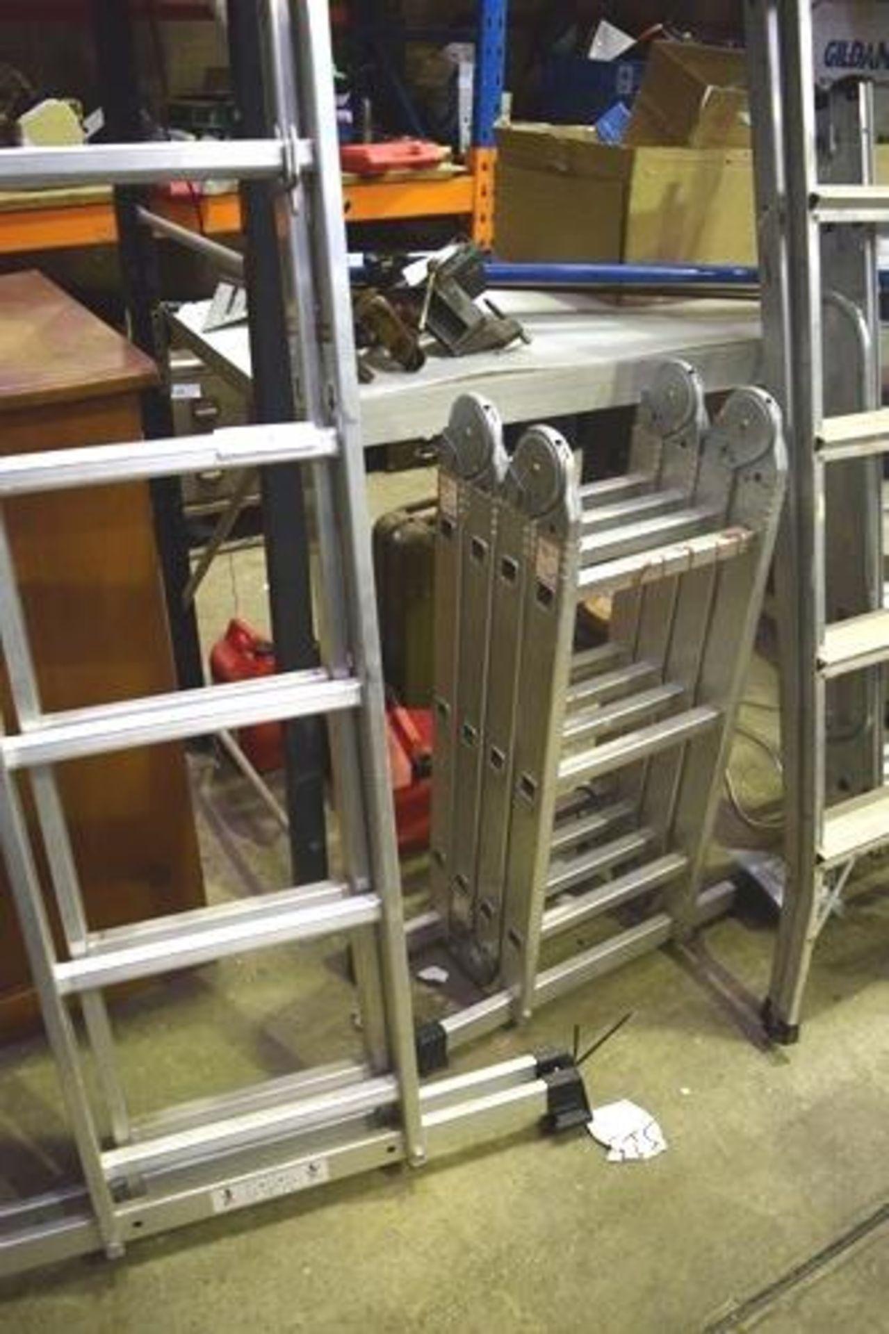 Lot 31 - 4 x assorted aluminium steps comprising 1 x GS LH701150, 1 x 4 section foldaway, 1 x 5 tread folding