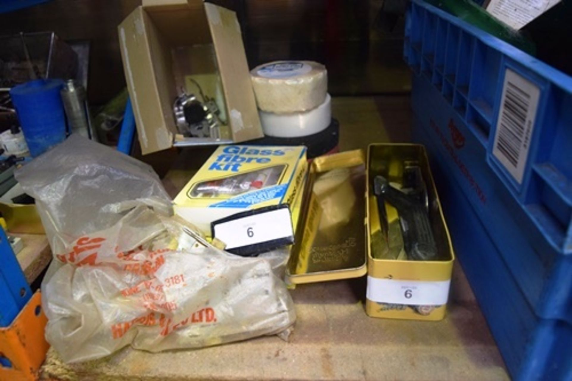 Lot 6 - 2 x glass fibre kits, 3 x assorted rolls of plastering interest, assorted door locks etc. - Second-