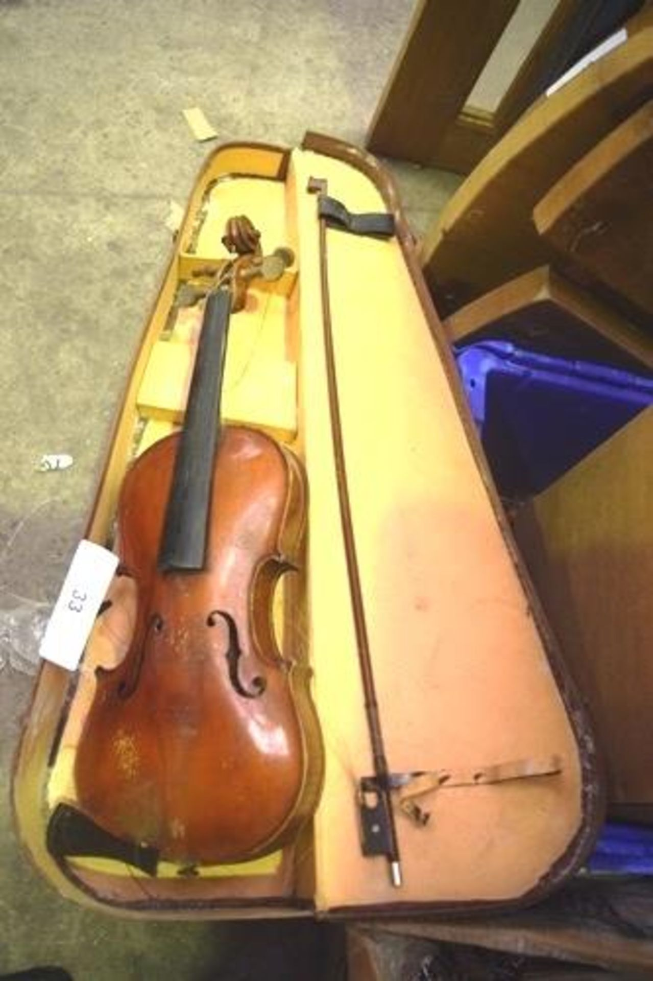 Lot 33 - Assorted collectables including brass beam scales, picture by John Crossfield '76, old violin,