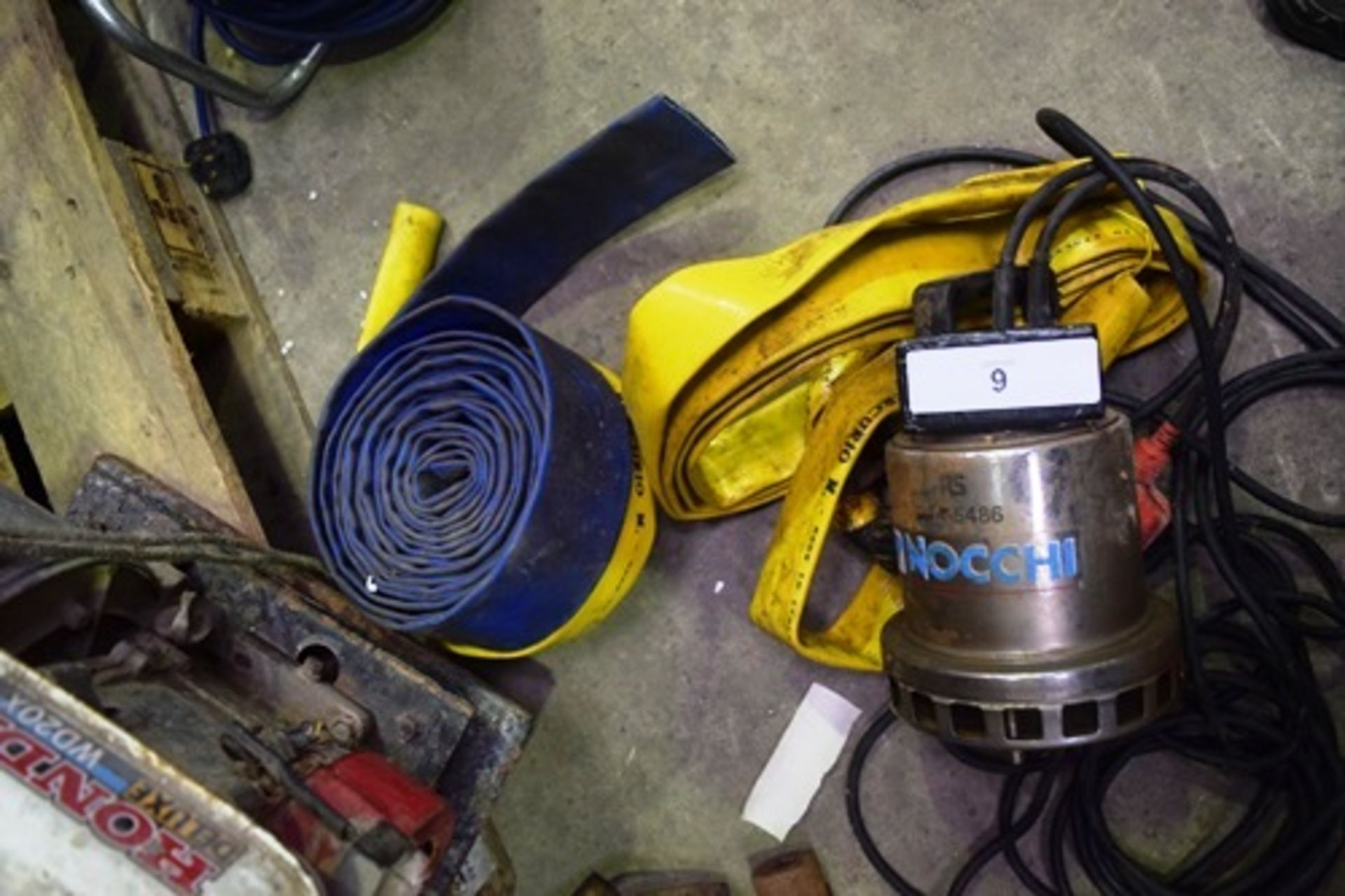 """Lot 9 - 2"""" diameter water pump fitted with Honda WD20X petrol engine, seized, Nocchi electric submersible"""