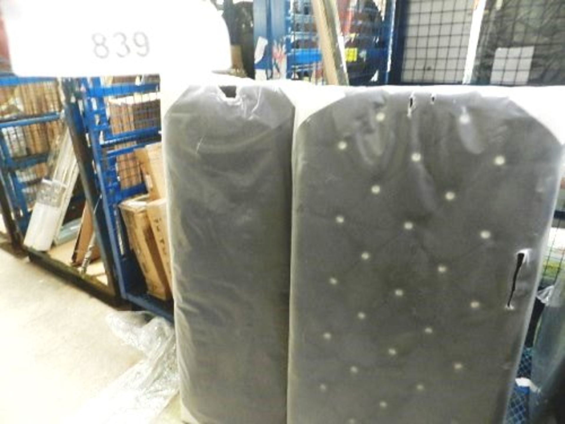Lot 839 - 1 x 32 stud diamond black headboard, 135cm x 65cm and 1 x 11 stud black headboard, 135cm x 53cm -