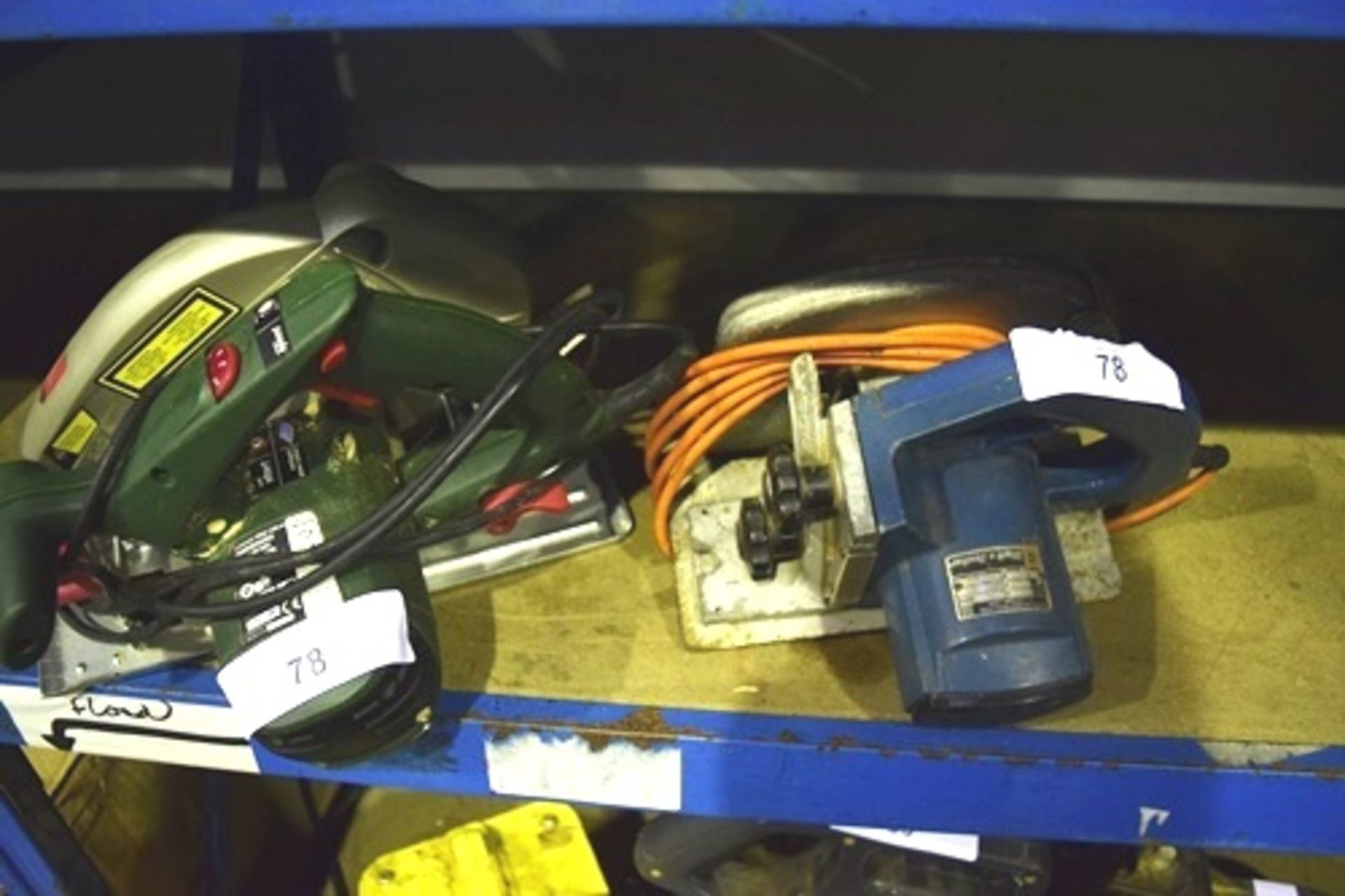 Lot 78 - Parkside electric circular saw, model PHKS 1300 A1, 240V, and a Black & Decker HD1000 saw, 240V -