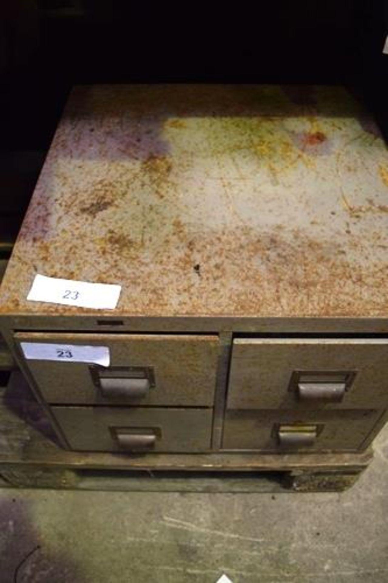 Lot 23 - Grey steel 4 drawer filing system, 50cm(W) x 50cm(D) X 40cm(H) - Second-hand (GS14)