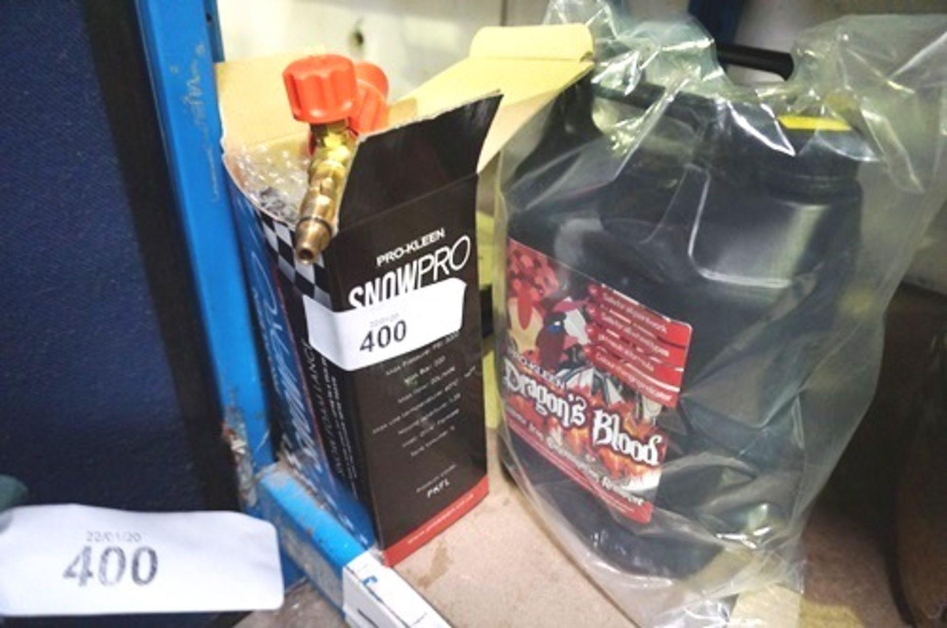 Lot 400 - Prokleen snow foam lance together with 5ltr snow foam and 5ltr Dragon Blood cleaner - Sealed new (