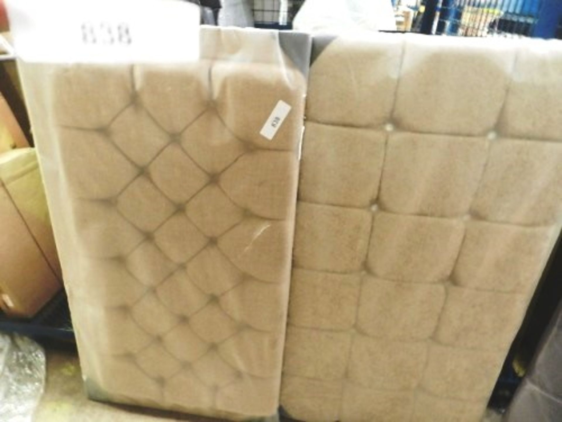 Lot 838 - 1 x 10 stud diamond beige headboard, 135cm x 75cm and a 27 stud headboard, 140cm x 78cm - Sealed new