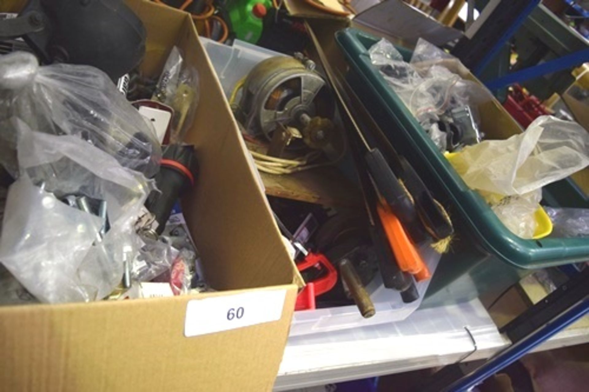Lot 60 - 4 x boxes of assorted tools including 240V spindle, external spotlight, padlocks etc. (GS23)