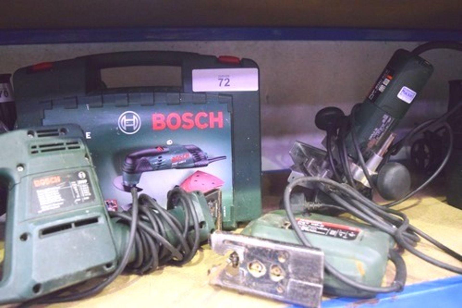 Lot 72 - 4 x Bosch 240V hand tools comprising 1 x reciprocating saw, model PFZ550, 1 x PMF180E multi, 1 x