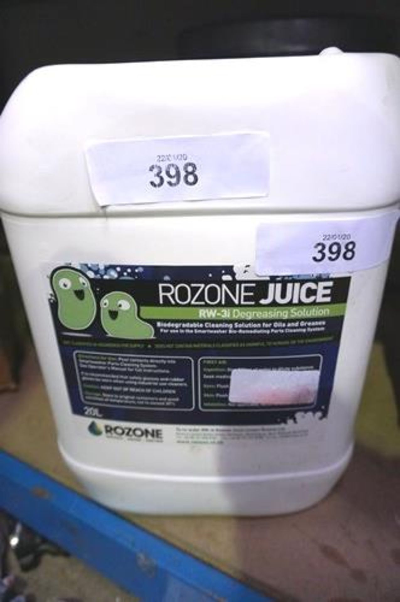 Lot 398 - 1 x 20ltr bottle of Rozone Juice Rw3i degreasing solution, bio-degradable - Sealed new (GS11)
