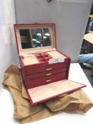 2 x large Cordays jewellery boxes, 1 x cream and 1 x red - New (C6A)