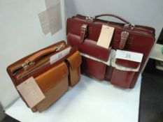2 x JuandZo bags, 1 x small briefcase style, light brown and 1 x larger briefcase style, Dora