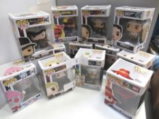 12 x Funko Pop figures, assortment of characters from 007, movies, TV and animation - New (C7D)