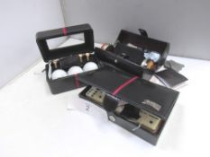 A selection of Cordays gift boxes, black with red trim, 1 x stacking jewellery box, 1 x golf ball