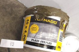 1 x 20kg tin of Tornado galvanised plain staples, size 40 x 4 and 1 x roll of standard straining