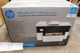 HP OfficeJet Pro 7740 wide format printer, model G5J38A- New in box (ES3)