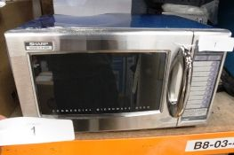 Sharp 1000W commercial microwave oven, model R21ATP - New, dented at rear (ES1)