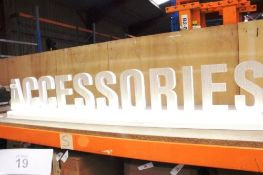 Custom made plastic and fibre board illuminated ACCESSORIES shop display sign with power cable and