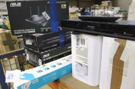 A quantity of assorted electrics including 2 x Asus AC3100 routers, Asus RT Ac88u router etc. -
