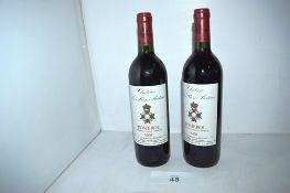 2 x bottles of Chateau Le Bon Pasteur Pomerol 1996 (2) (cab1)