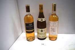 1 x 750ml bottle of Montagny 1er Cru 1996, 1 x 750ml bottle of Chateau Fontaine Sauternes 2014 and 1