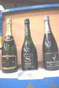 1 x 75cl bottle of Paul Langier brut champagne, 1 x 750ml bottle of Billecart-Salmon brut reserve