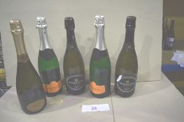 5 x assorted bottles of sparkling wine including 2 x 750ml bottles of Prodezza Prosecco Brut (5)