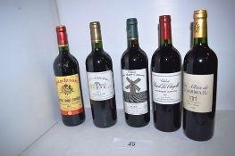 5 x assorted bottles of Bordeaux wine including 1 x bottle of Chateau Beard La Chapelle St Emilion