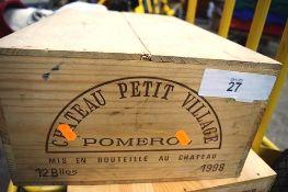 12 x bottles of Chateau Petit Village Pomerol 1998 OWC (12) (ES16)