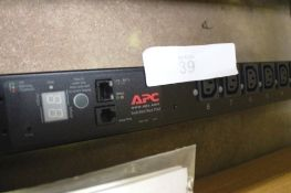 An APC rack mounted power distribution unit, model AP7950B, comes with metal brackets and manual,