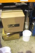 A Burco portable foot operated sink, second-hand, untested, together with a selection of stainless