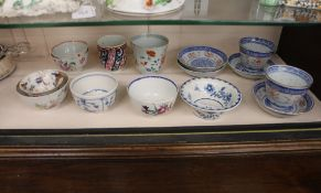 A small collection of 18th Century Worcester, famille rose and other tea bowls, modern Chinese tea