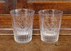 Six Masonic etched glass spirit tumblers, monogrammed GM and a hob-nail cut decorated spirit