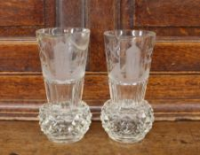A pair of Masonic etched heavy glass baluster vases, with hob-nail cut bases, etched with symbols,