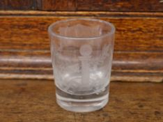 "A heavy Masonic etched glass tumbler, decorated with symbols and numbered 900, initialed ""G"", 8cm"