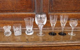 An old Framlinghamians Lodge 50th Anniversary glass, number 6646, 11cm; a small Masonic etched glass