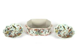 Three pieces of 19th Century French polychrome decorated faience ware, to include an octagonal